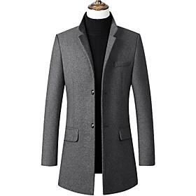 Men's Coat Regular Solid Colored Daily Long Sleeve Black Wine Navy Blue US32 / UK32 / EU40 US34 / UK34 / EU42 US36 / UK36 / EU44