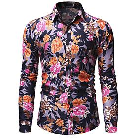 Men's Floral Print Shirt - Cotton Basic Daily Rainbow / Long Sleeve