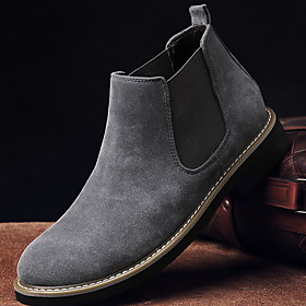 Men's Boots Comfort Shoes Work Boots Daily PU Booties / Ankle Boots Black / Blue / Khaki Winter