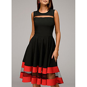 Women's A-Line Dress Knee Length Dress - Sleeveless Striped Solid Colored Color Block Spring Summer Plus Size Hot 2020 Black Navy Blue S M L XL XXL 3XL 4XL 5XL