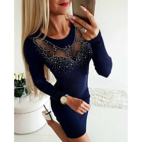 Women's Sheath Dress Knee Length Dress - Long Sleeve Solid Colored Cut Out Glitter Basic Navy Blue Gray S M L XL