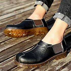 Men's Loafers  Slip-Ons Work Boots Vintage Outdoor Walking Shoes Cowhide Wear Proof Wine / Black / Brown Spring / Fall