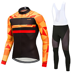 Men's Long Sleeve Cycling Jersey with Bib Tights Winter Lycra Black Geometic Novelty Bike Clothing Suit UV Resistant Quick Dry Sports Geometic Mountain Bike MT