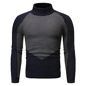 Men's Color Block Pullover Long Sleeve Sweater Cardigans Turtleneck Black Navy Blue