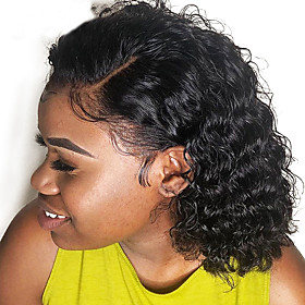 Curly Human Hair Wig Malaysian Short Bob Lace Front Human Hair Wigs For Black Women Full and Thick Dolago Hair 130% Density with Baby Hair