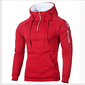 Men's Hoodie Solid Colored Hooded Casual Hoodies Sweatshirts  Slim Black Red Light gray