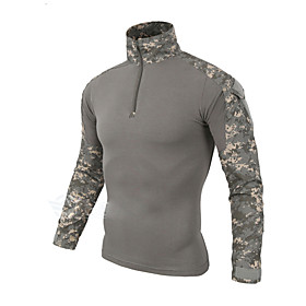 Men's Hunting T-shirt Outdoor Thermal / Warm Windproof Breathable Quick Dry Autumn / Fall Spring Summer Camo Top Cotton Long Sleeve Camping / Hiking Hunting Fi