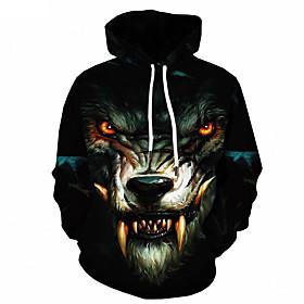 Men's Hoodie Jacket 3D Artistic Style Sporty Animal Pattern Hooded Basic Hoodies Sweatshirts  Long Sleeve Slim Black / Spring / Fall / Winter / Print