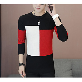 Men's Color Block Pullover Long Sleeve Sweater Cardigans Round Black Khaki Brown