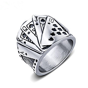 Men's Band Ring Ring 1pc Silver Tungsten Steel Geometric Fashion Daily Holiday Jewelry Geometrical Poker Cool