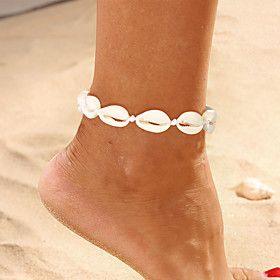 Ankle Bracelet Simple Boho Vintage Women's Body Jewelry For Party Daily Braided Cord Imitation Pearl Shell Weave Shell White 1pc