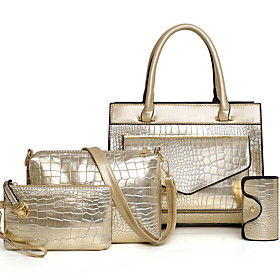 Women's Zipper PU Bag Set 5 Pieces Purse Set Black / Gold / Blue