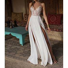 A-Line Wedding Dresses V Neck Floor Length Chiffon Spaghetti Strap Illusion Detail Backless with Appliques Split Front 2020