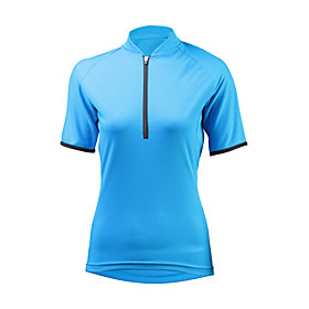 ILPALADINO Women's Short Sleeve Cycling Jersey Winter Elastane Sky Blue Bike Jersey Mountain Bike MTB UV Resistant Quick Dry Moisture Wicking Sports Clothing A