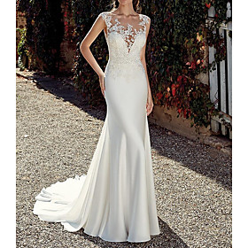 Mermaid / Trumpet Wedding Dresses Jewel Neck Sweep / Brush Train Chiffon Cap Sleeve Illusion Detail Backless with Lace Insert 2020
