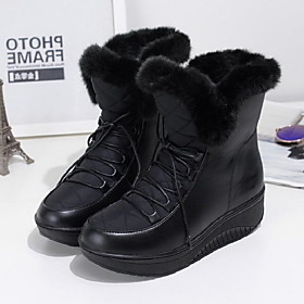 Women's Boots Snow Boots Flat Heel Round Toe PU Booties / Ankle Boots Fall  Winter Black / White
