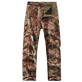 Men's Camouflage Hunting Pants Thermal / Warm Waterproof Windproof Wear Resistance Fall Winter Camo / Camouflage Fleece Softshell Pants / Trousers Bottoms for