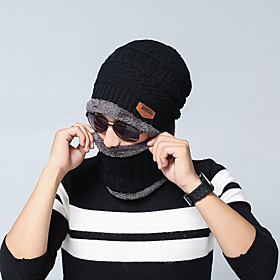Men's Unisex Ski Hat Acrylic Knitwear Work Basic - Solid Colored Fall Winter Black Wine Khaki