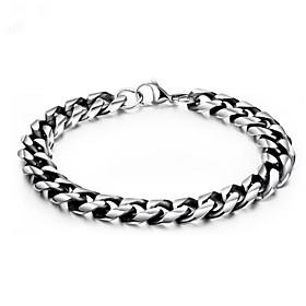Men's Chain Bracelet Geometrical Flower Fashion Titanium Steel Bracelet Jewelry Silver For Gift Daily