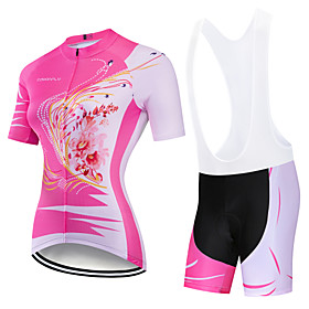 CAWANFLY Women's Short Sleeve Cycling Jersey with Bib Shorts Pink Floral Botanical Bike Clothing Suit 3D Pad Quick Dry Winter Sports Spandex Lycra Floral Botan