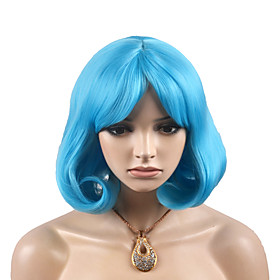 Synthetic Wig Deep Wave Layered Haircut Wig Short Sky Blue Synthetic Hair 14 inch Women's Fashionable Design Women Blue