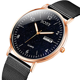 Men's Dress Watch Quartz Formal Style Mesh Fashion Calendar / date / day Analog Black / Rose Gold Black Silver / Black / One Year / Stainless Steel / Stainless