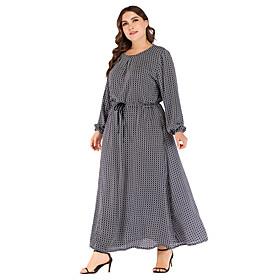 Women's Daily Wear Dress Basic Elegant Shift Chiffon Dress - Polka Dot Lace up Print Navy Blue XXL XXXL XXXXL