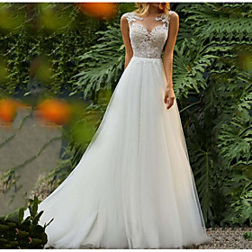 A-Line Wedding Dresses Jewel Neck Sweep / Brush Train Tulle Regular Straps Romantic Boho Backless with Lace Insert 2020