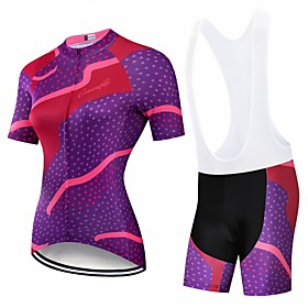 CAWANFLY Women's Short Sleeve Cycling Jersey with Bib Shorts Dark Blue Geometic Bike Clothing Suit 3D Pad Quick Dry Winter Sports Spandex Lycra Geometic Mounta
