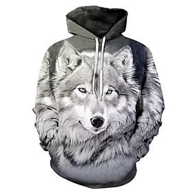 Men's Hoodie Print 3D Hooded Basic Hoodies Sweatshirts  Gray