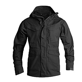 Men's Hunting Jacket Outdoor Thermal / Warm Waterproof Windproof Breathability Spring Summer Fall Camo Jacket Top Cotton Camping / Hiking Hunting Climbing Blac