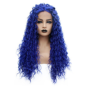 Synthetic Lace Front Wig Curly Taylor Middle Part Lace Front Wig Long Blue Synthetic Hair 22-26 inch Women's Heat Resistant Women Hot Sale Blue / Glueless