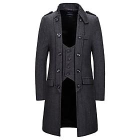 Men's V Neck Coat Long Solid Colored Daily Long Sleeve Khaki Gray US32 / UK32 / EU40 US34 / UK34 / EU42 US38 / UK38 / EU46 / Slim