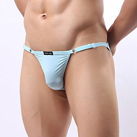 Men's 1 Piece Basic Briefs Underwear - Normal Low Waist Light Blue White Black One-Size