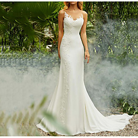 Mermaid / Trumpet Wedding Dresses V Neck Sweep / Brush Train Chiffon Spaghetti Strap Mordern Backless with Lace Insert 2020
