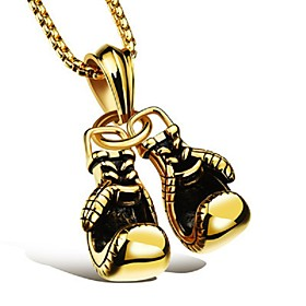 Men's Pendant Necklace Chain Necklace Stylish Foxtail chain Dookie Chain Boxing Gloves Stylish European Hip-Hop Hip Hop Alloy Black Gold Silver 60 cm Necklace