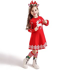 Kids Toddler Girls' Active Sweet Deer Animal Snowflake Christmas Print Short Sleeve Knee-length Dress Blue