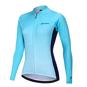 Nuckily Women's Cycling Jersey Bike Motorcyle Clothing Winter Fleece Jersey Warm Sports Gradient Fleece Elastane Winter Sky Blue Mountain Bike MTB Clothing App