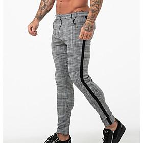 Men's Basic Slim Chinos Pants - Plaid / Checkered White Black US32 / UK32 / EU40 / US34 / UK34 / EU42 / US36 / UK36 / EU44
