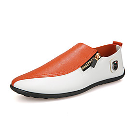 Men's Loafers  Slip-Ons Comfort Shoes Casual Party  Evening Office  Career PU Wear Proof Black and White / Orange Color Block Fall