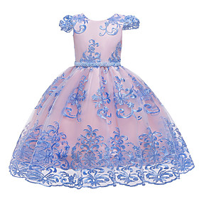 Kids Girls' Active Sweet Floral Embroidered Short Sleeve Knee-length Dress Blushing Pink