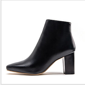 Women's Boots Block Heel Square Toe Casual Minimalism Daily Solid Colored PU Booties / Ankle Boots Winter White / Black