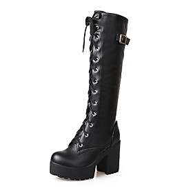 Women's Boots Knee High Boots Chunky Heel Round Toe Classic Punk  Gothic Daily Lace-up Solid Colored PU Knee High Boots White / Black