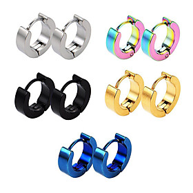 Men's Hoop Earrings Fashion Boyfriend Simple Punk Cool Titanium Steel Earrings Jewelry Black / Golden / Rainbow For Daily Casual
