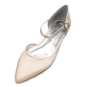 Women's Wedding Shoes Flat Heel Pointed Toe Rhinestone Satin Classic / Sweet Spring   Fall Black / White / Purple / Party  Evening
