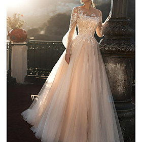 A-Line Wedding Dresses Jewel Neck Sweep / Brush Train Tulle Long Sleeve Romantic Illusion Sleeve with Buttons Appliques 2020