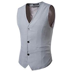 Men's V Neck Vest Striped Black / Gray US32 / UK32 / EU40 / US34 / UK34 / EU42 / US36 / UK36 / EU44 / Slim