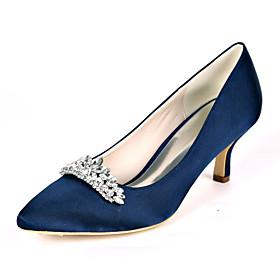 Women's Wedding Shoes Stiletto Heel Pointed Toe Rhinestone Satin Sweet Fall / Spring  Summer Black / White / Purple / Party  Evening