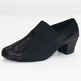 Women's Modern Shoes Ballroom Shoes Heel Thick Heel Black Loafer Category:Ballroom Shoes,Modern Shoes; Upper Materials:Synthetics; Lining Material:Bamboo Fiber; Heel Type:Thick Heel; Gender:Women's; Style:Heel; Outsole Materials:Leather; Occasion:Practice,Party,Performance; Closure Type:Loafer; Customized Shoes:Customizable; Listing Date:10/17/2019; Production mode:Self-produce; Foot Length:; Size chart date source:Measured by LightInTheBox.