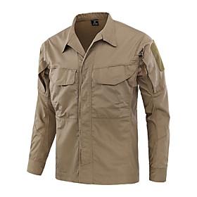 Men's Hunting Shirt Outdoor Thermal / Warm Waterproof Windproof Breathable Spring   Fall Summer Camo Shirt Top Cotton Long Sleeve Camping / Hiking Hunting Fish